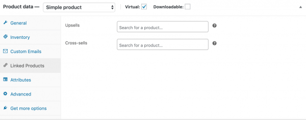 Screen shot of where to enter cross-sells and up-sells
