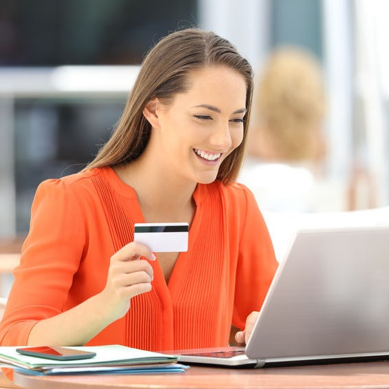 Lady Paying Online with a credit card