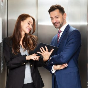 Woman Making an Elevator Pitch